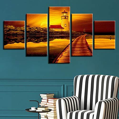 Cornice moderna stampata HD Decorazione della casa 5 Pannello Faro sul mare Crepuscolo Vista Tela Pittura Poster Arte da parete Soggiorno (Incorniciato)