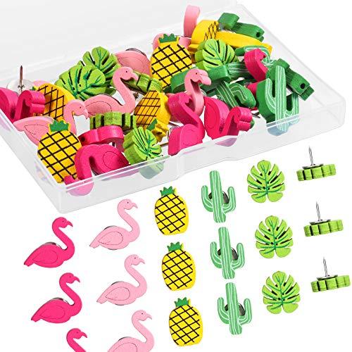 Chinchetas de Madera Alfileres de Flamingo Piña Cactus Hoja de Palma Tachuelas Chinchetas Decorativas Lindas para Fotos Muro, Mapas, Tablón de Anuncios, Tableros de Corcho (50)