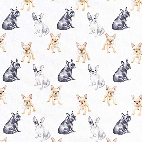 Dekostoff Baumwollpopeline Französische Bulldogge — Meterware ab 0,5m — STANDARD 100 by OEKO-TEX® Produktklasse I — zum Nähen von Bettwäsche, Homeaccessoires & Kissen/Tagesdecken