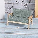 Mini modèle de meubles 1:12 canapé miniature de maison de poupée en bois pour attirer les filles(Mufu Grey Green)