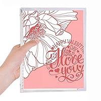 ピンクのバレンタインデー・ラブ・ローズ 硬質プラスチックルーズリーフノートノート