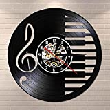 Nzlazbc Music Notes Mute Vinyl Record Clock Piano Room Wall Sign Decor Wall Art Silent Quartz Vinyl Watch Musician Pianist Teacher Gift