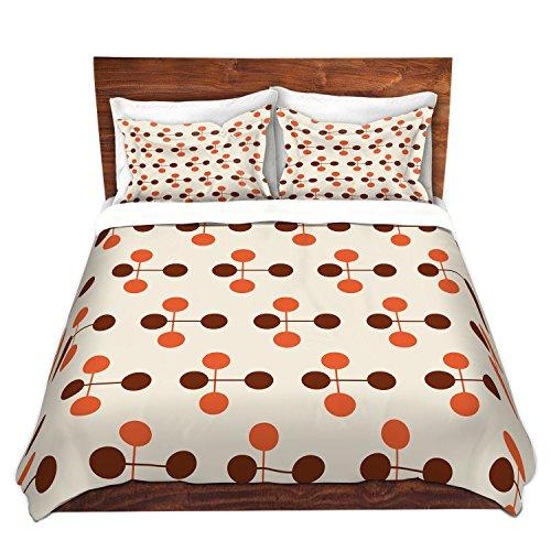 DiaNoche Designs Microvezel dekbedovertrek Nika Martinez midden eeuw Dot Oranje Chocolade