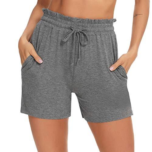 Aibrou Damen Shorts Schlafanzughose Baumwolle Kurze Pyjamahose Sporthose Nachtwäsche Shorts Sommer Jogginghose mit Rüschenbesatz für Freizeit Yoga Schlaf Fitness