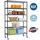 Wire Shelving Unit Heavy Duty Height Adjustable NSF Certification Utility Rolling Steel Commercial Grade with Wheels for Kitchen Bathroom Office (Black, 48' Lx18 Wx82 H)