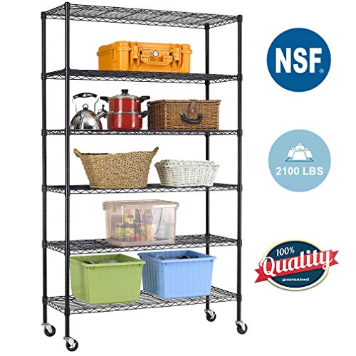 Wire Shelving Unit Heavy Duty Height Adjustable NSF Certification Utility Rolling Steel Commercial Grade with Wheels for Kitchen Bathroom Office (Black, 48'Lx18'Wx82'H)
