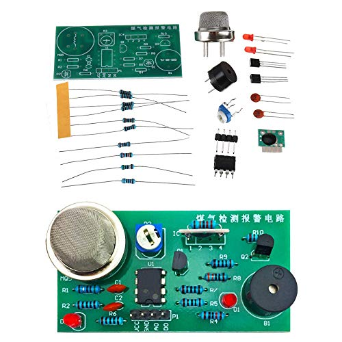LYYCEU MQ5 Detección de Gas y la Placa de la Placa de la Placa de la Alarma de la Placa de Bricolaje Soporte al Kit de Sensor de Alarma sin caudal y Limpio Módulo electrónico