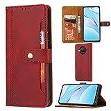 TOPOFU Xiaomi Mi 10T Lite 5G Hülle,Retro Flip Premium LederHülle Wallet Schutzhülle mit Kartensteckplätze,Magnetverschluss,Ständer Handyhülle für Xiaomi Mi 10T Lite 5G-Rot