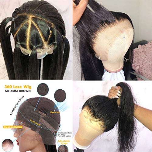 Amesha Hair 9A 360 Lace Front Wigs Human Hair Wigs with Baby Hair,150% Density Pre Plucked and Bleached Knots Free Part Straight Brazilian Virgin Human Hair 10Inch