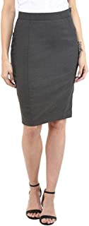 Van Heusen Womens Slub Knee Length Formal Skirt_ Grey(203889158_9204)