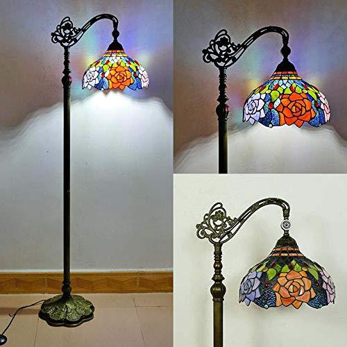 Retro Tiffany Lámpara de piso, Dormitorio Sala Lampara de pié, Antiguo Interruptor de pie, 165cm, Vitral Pantalla de lámpara Lámpara de salón, E27 Decoración Lámpara de mesa,E