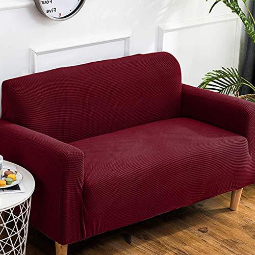 JBNJV Funda de sofá Suave Funda de sofá, Protector de Muebles con Fondo elástico, Funda de sofá Lavable a máquina, Funda de sofá elástica, Rojo Vino M: 145-185 cm (57-74 Pulgadas)