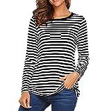 Vectry Camisetas Mujer Verano Camiseta Rayas Negras Y Blancas Mujer Camiseta Manga Larga NiñA Camisetas Deporte Mujer Blusa Rayas Camiseta Negro