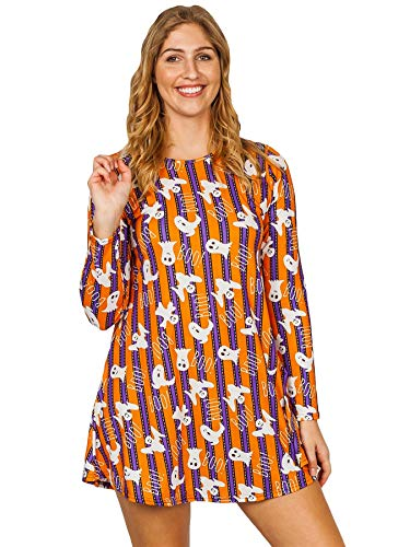 Love My Fashions® Vestido para mujer Señoras Halloween Ghost Pumpkin Prints Causal Skater Style Swing Party Wear Mangas largas Cuello redondo talla grande