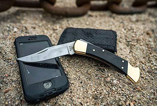 "Buck Knives 110 Folding Hunter Lock-back Knife, Brass Bolsters, Ebony Handles, 3-3/4"" 420HC Clip Point Blade with Leather Sheath"