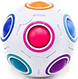 Toyzabo Challenging Rainbow Puzzle Speed Cube Ball Fun Fidget Toy Brain Teaser with 11 Colors (3 Pack)