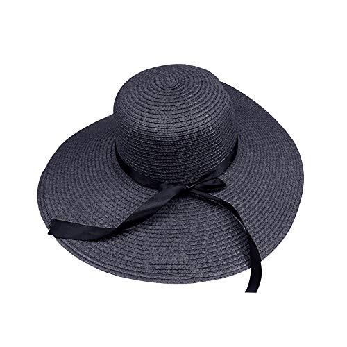 tianxiangjjeu Sombrero de paja para mujer, ala ancha, cinta de paja, bowknot plegable playa cubo Cap negro