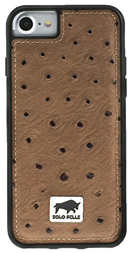 Solo Pelle iPhone SE (2020) 7/8 Case Lederhülle Ledertasche Backcover Flex aus echtem Leder mit Strauss-Prägung in Braun inkl. edler Geschenkverpackung