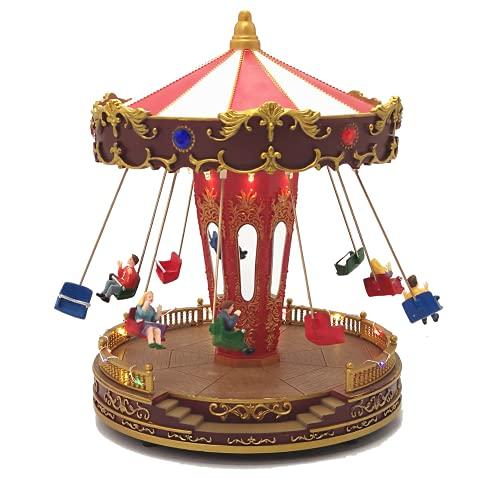 TIN DREAMS FACTORY - Pueblo navideño, Pueblo Navidad, Christmas Village, Escena carrusel de Columpios, Musica, Movimiento, LED, Cargador.