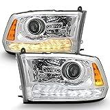 ACANII - For [Non-OE Projector Type] 2009-2018 Dodge Ram 1500 2500 3500 Upgrade Chrome LED Signal Headlights Headlamps