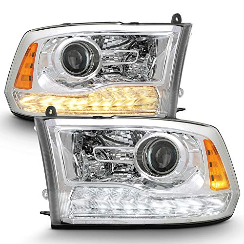 ACANII - For 2009-2018 Dodge Ram 1500 2500 3500 Upgrade Style Chrome Housing LED DRL Projector Headlights Headlamps