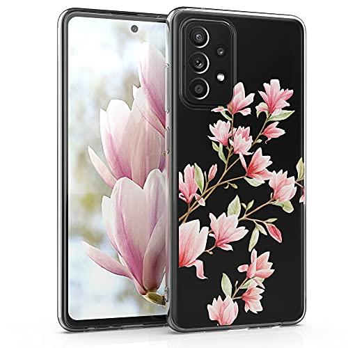 kwmobile Carcasa Compatible con Samsung Galaxy A52 - Funda de TPU y Magnolias en Rosa Claro/Blanco/Transparente