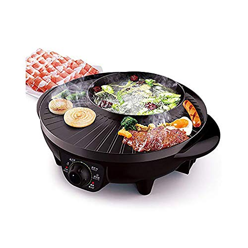 LRHD Shabu Shabu portátil eléctrico Hot Pot con Barbacoa, Aluminio Fundido Pot Body Electric Hot Pot Grill, Cubierta 2 en 1 sin Humo Barbacoa Parrillas Shabu Pot Capacidad for 3-4 Personas (Negro)