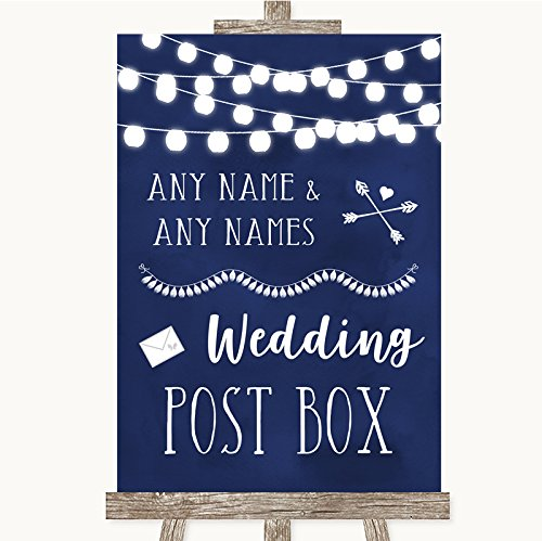 Wedding Sign Poster Print Navy Blue Watercolor Lights Card Post Box kan volledig worden aangepast elke tekst of kleur - Perfect Venue Decoratie (A3) Large