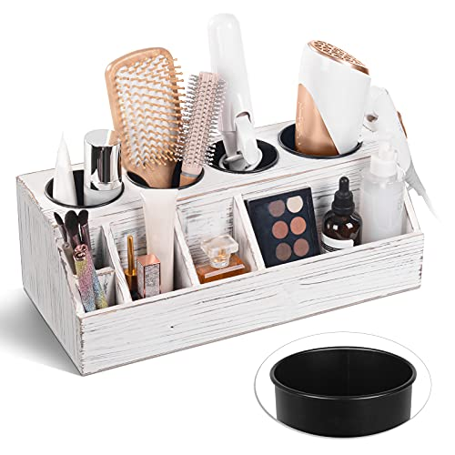 Wooden Hair Dryer Holder Wall Mounted, Rustic Hair Tool Organizer with 4 Cups, Large Bathroom Counter Organizer, Hair Accessories Organizer, Bathroom Storage Stand, White
