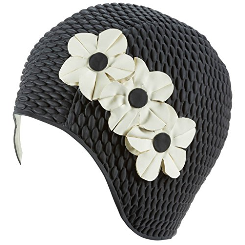 Latex Swim Cap - Women Stylish Swimming Cap Great for Ladies, Perfect to Keep Hair Dry - Suitable for Long Hair - Bubble Crepe with Black and White Flowers