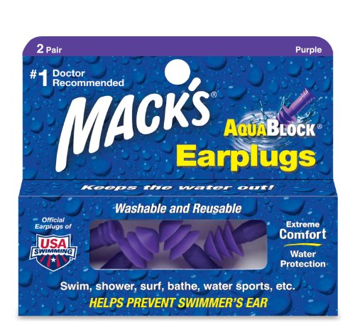Mack's AquaBlock Earplugs, 2 Pair, Comfortable, Waterproof, Ear Plugs for Swimming, Snorkeling and Showering (Pack of 2)