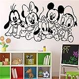 Mickey Mouse Etiqueta de la pared calcomanía de dibujos animados de los personajes del bebé Mickey Mouse etiqueta de vinilo arte de la pared decoración niños habitación de los niños Ideas habitación