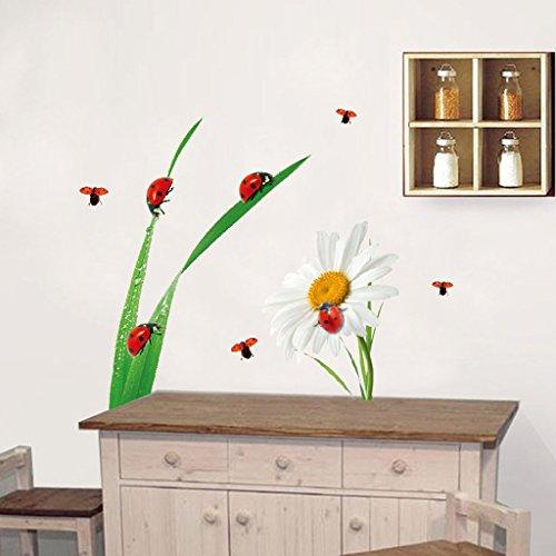 D DOLITY 3D Wandaufkleber Wandsticker Wandtattoo Wanddeko wasserdicht für Kinderzimmer (70 x 50cm) - Marienkäfer