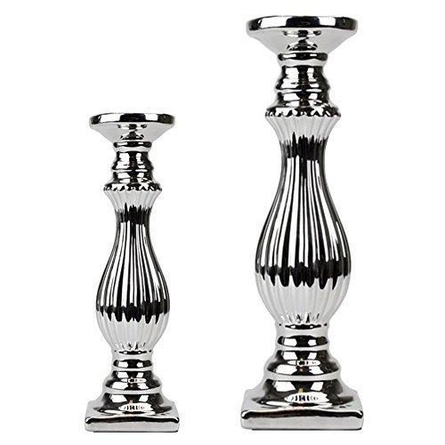 Clic-And-Get 2 Größen Kerzenleuchte Silber Keramik Kerzenständer Stumpenkerze Tafelkerze (2er Sparset)