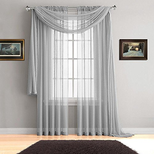 """Empire Home Extra Long Window Sheer Curtain Panel - 54"""" Wide X 108"""" Long (Slick Silver)"""