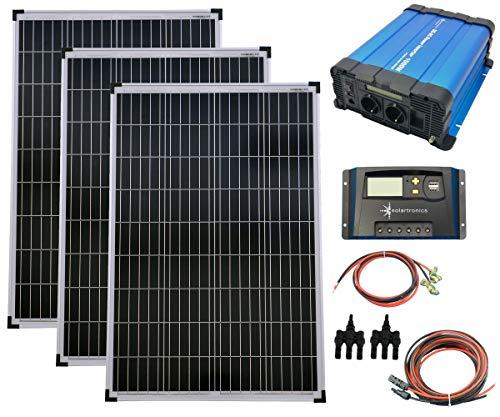 SET 3x 100W Poly Solar Modul 20A Laderegler gelb Spannungswandler 1500W rein Kabel Stecker Komplettset Solarmodul Photovoltaik Inselanlage