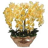 Accesorios para el hogar 10 cabezas de orquídeas amarillas Flor artificial grande con jarrón de resina dorada Phalaenopsis artificial Juego de flores falsas para sala de estar Decoración de mesa de c