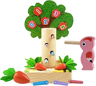 Generic Magnetic Toddler Games Toy Woodpecker Catching and Feeding Game Hammer Pounding Toy Wooden Tree with Numbers Fine ...