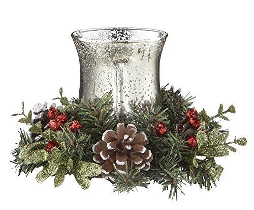 Ganz Christmas Mistletoe & Pinery Glass Tea Light Holder
