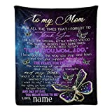 Custom Blanket with Name Text Personalized to My Mom Soft Fleece Throw Blanket for Gifts (50 X 60 inches)