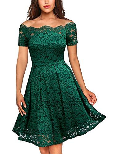 MIUSOL Damen Vintage 1950er Off Schulter Cocktailkleid Kurzarm Retro Spitzen Schwingen Pinup Rockabilly Kleid Dunkelgrün L