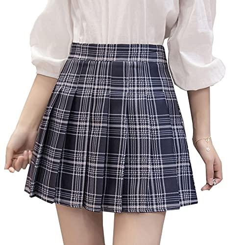 KeYIlowys Jupe plissée à Carreaux JK de Grande Taille pour Femmes, étudiantes de Printemps et d'été, Taille Haute, Jupe inférieure plissée A-Line
