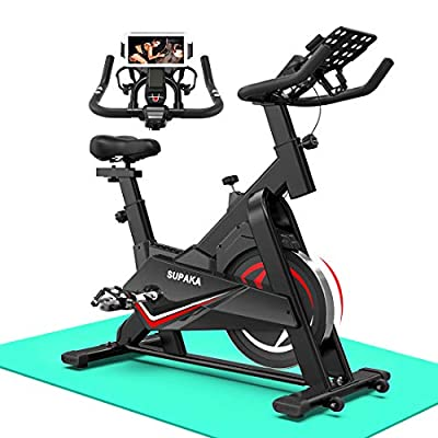 Retail Sign Systems SUPAKA Spin Bike, Indoor Cycling Bike Stationary, Exercise Bike for Home Cardio Gym, 35 LBS Flywheel, Thickened Frame Upgraded Version (Black)