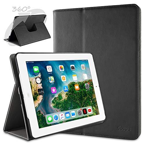 doupi Deluxe Schutzhülle für iPad 2 3 4, Smart Case Sleep/Wake Funktion 360 Grad drehbar Schutz Hülle Ständer Cover Tasche, schwarz