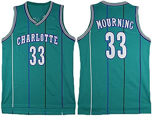 jiaju Ropa Baloncesto de los Hombres NBA Jersey Vintage Charlotte Hornets 33# LOURING TRAPORTE RÁPIDO RÁPIDO Vestido sin Mangas Top para Deportes, Blanco, XXL (Color : Green, Size : M)