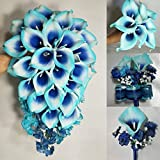 Turquoise Navy Blue Calla Lily Bridal Wedding Bouquet Accessories