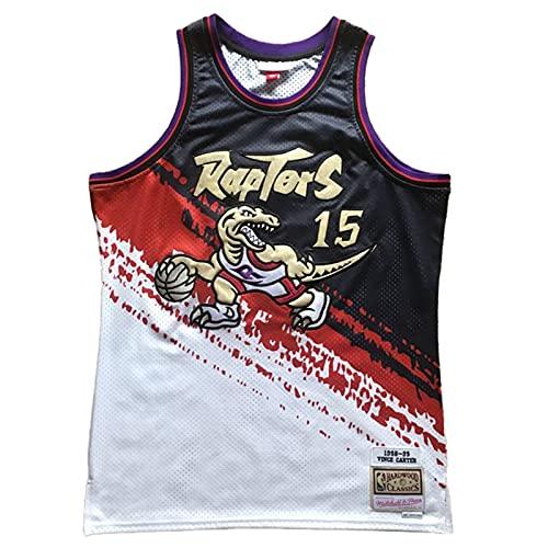 KKSY Maglie da Uomo Toronto Raptors # 15 Vince Carter Maglie da Basket Retro Gilet Traspirante Abbigliamento Sportivo da Allenamento Senza Maniche,A,XXL