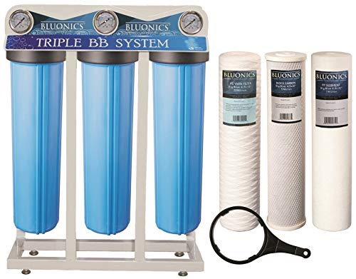 """Bluonics Whole House Water Filter for City & Well Water 3 Stage Home Water Filtration System with Big Blue 4.5"""" x 20"""" Sediment and Carbon Filters with Pressure Gauges, 1 Inch Inlet Outlet Connections"""