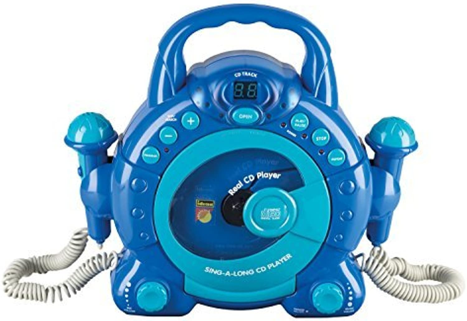 Idena 40104 - Kinder CD Player SING A LONG mit 2 Mikrophonen und LED Display, blau by Idena