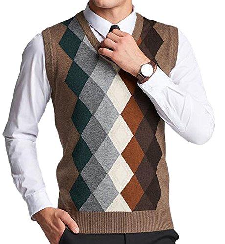 DD UP Herren V-Ausschnitt lässig Argyle Muster Herbst Winter Pullunder Weste Strickweste Kaffee,Gr.L(EU),XXL(Asien)
